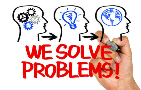 solve problems: we solve problems concept on whiteboard