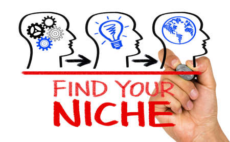 niche: find your niche concept on whiteboard