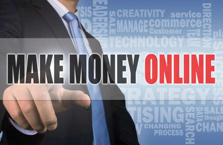 money online: make money online concept on touch screen interface