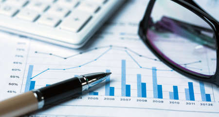 financial accounting concept with graphs and charts Standard-Bild