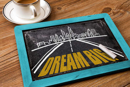 challenges ahead: dream big concept on the road Stock Photo