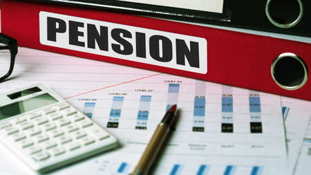 pension: pension concept on document folder Stock Photo