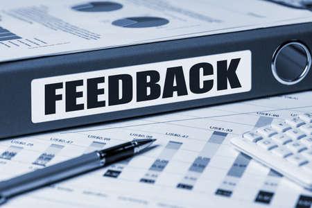 commerce communication: feedback concept on document folder