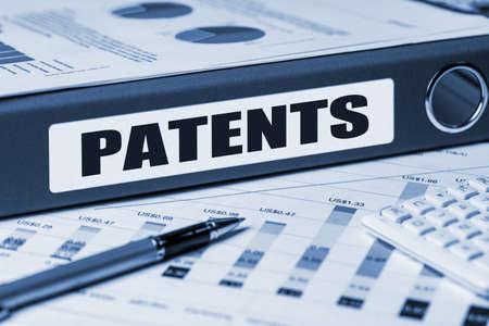 company secrets: patents concept on document folder