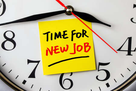jobs: time for new job on note stuck to a wall clock