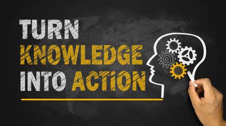 transformer les connaissances en action concept sur le tableau noir