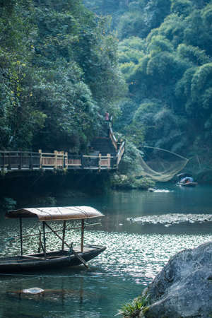 yangtze river: ancient fishing boat on yangtze river