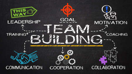 building work: team building concept drawn on blackboard