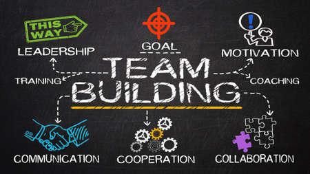 team building concept op bord wordt getrokken Stockfoto