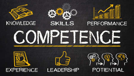competence: competence concept drawn on blackboard Stock Photo