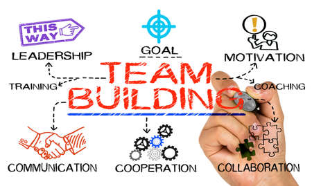 concept de team building dessiné sur fond blanc Banque d'images