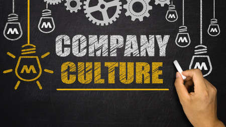 Company Culture concept on blackboard 版權商用圖片