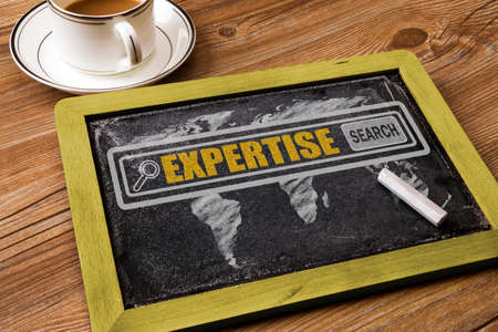 expertise: search for expertise concept on blackboard Stock Photo
