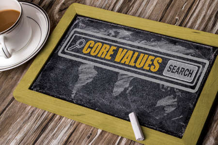 core strategy: search for core values concept on chalkboard Stock Photo