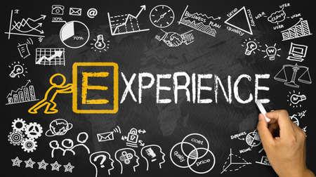experience concept handwritten on blackboard