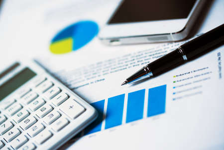 financial management: business concept:mobile work Stock Photo