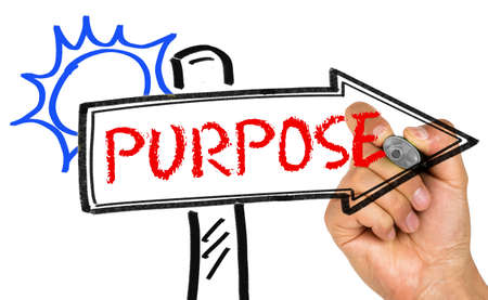 proposito: purpose concept on signpost Foto de archivo