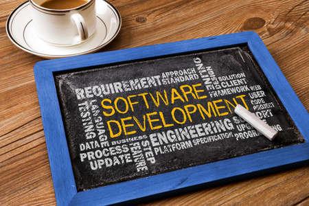 people development: software development word cloud on blackboard Stock Photo