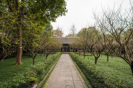 poems: Du Fu thatched Cottage park in honor of Du Fu, one of the most famous Tang Dynasty poets and the Sage of Chinese Poems -Chengdu, Sichuan, China