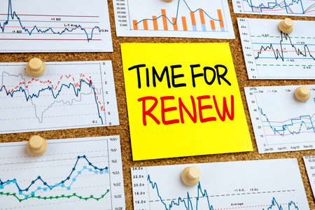 renew: time for renew concept  with financial graphs and charts Stock Photo