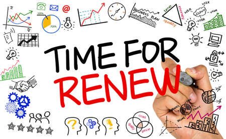 renew: time for renew concept on whiteboard Stock Photo