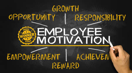 employee motivation concept on blackboard 版權商用圖片