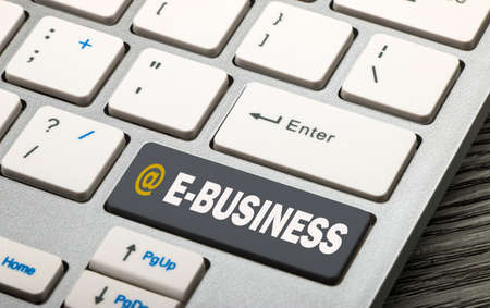ebusiness: e-business concept on keyboard Stock Photo