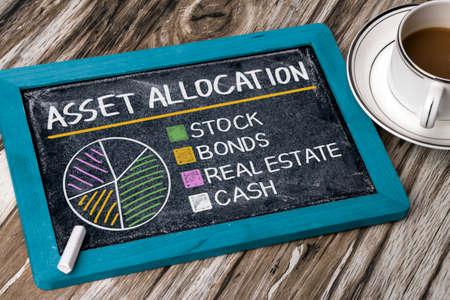 actif notion d'allocation graphique sur le tableau noir