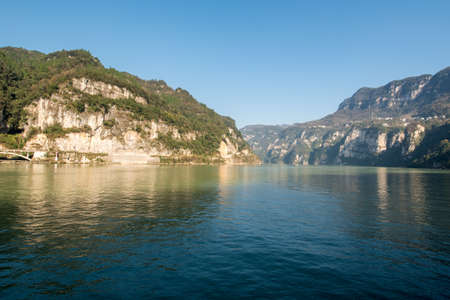 xiling gorge: Three Gorges Tribe Scenic Spot along the Yangtze River; located in the Xiling Gorge of Three Gorges, Yichang, Hubei, China Stock Photo