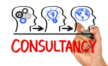 consultancy: consultancy concept drawn on whiteboard Stock Photo