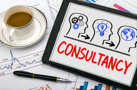 consultancy: consultancy concept drawn on tablet pc