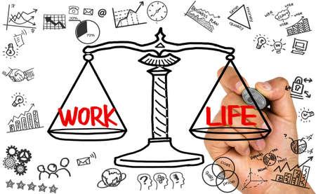 balance concept: work life concept on balance scale