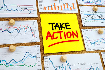 take action: take action with financial graphs and charts