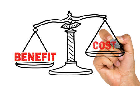 benefit: benefit and cost concept on whiteboard