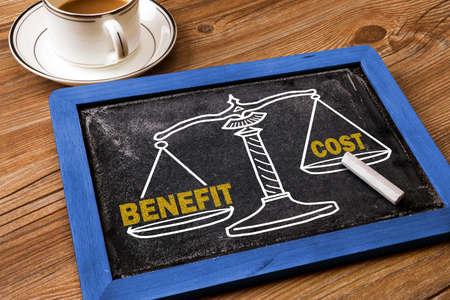 Konzept Nutzen und Kosten auf Tafel gezeichnet