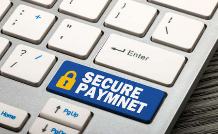 secure payment: secure payment concept on keyboard Stock Photo