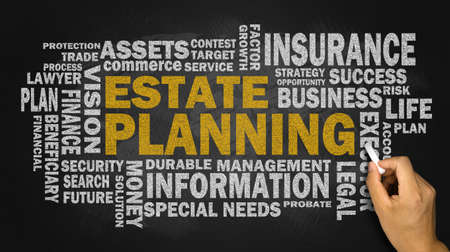 estate planning concept with related word cloud on blackboard