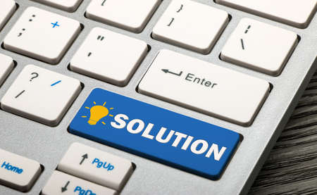 solution: solution concept on keyboard Stock Photo