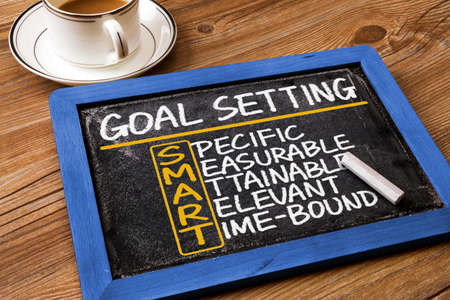measurable: smart goal setting concept hand drawn on blackboard Stock Photo