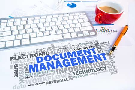 cloud tag: document management word cloud on office scene