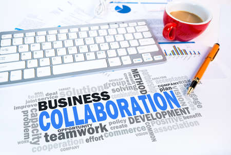 common vision: collaboration word cloud on office scene