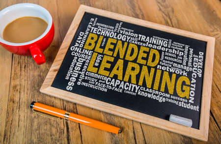blended learning word cloud on small blackboard