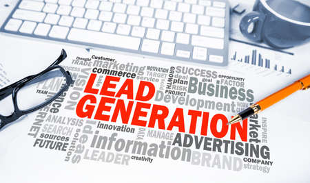 leadership potential: lead generation concept word cloud on office scene