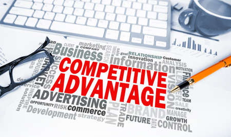 competitive: competitive advantage word cloud on office scene Stock Photo