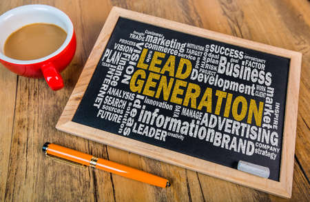 leadership potential: lead generation concept word cloud on small blackboard Stock Photo