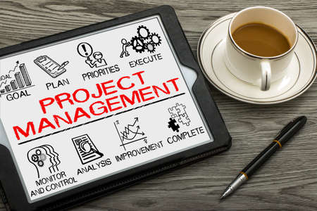 initiate: project management with business elements drawn on tablet pc