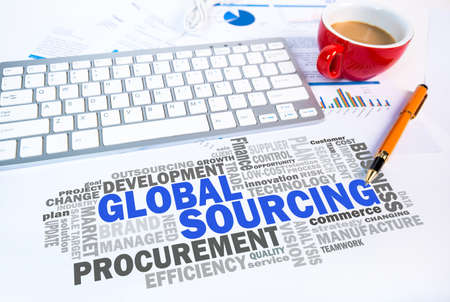 sourcing: global sourcing word cloud on office scene Stock Photo