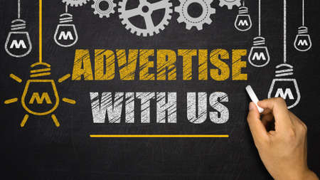 advertise: Advertise With Us Stock Photo