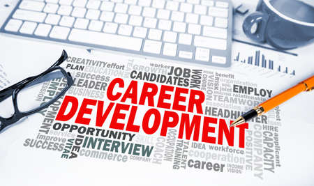career development: career development word cloud on office scene