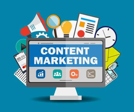 contenu concept marketing. Design plat illustration